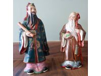 Pair of Ancient Chinese Gods Porcelain Figurines