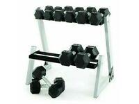 Weider Dumbbell Set & Rack Rubber Hex Dumbbells 80KG Home Gym Equipment CHEAPEST UK
