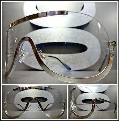 OVERSIZED VINTAGE RETRO SHIELD Style Clear Lens EYE GLASSES Silver Metal Frame