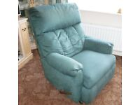 Hand operated recliner armchair. A little larger than usual, comfortable, American build