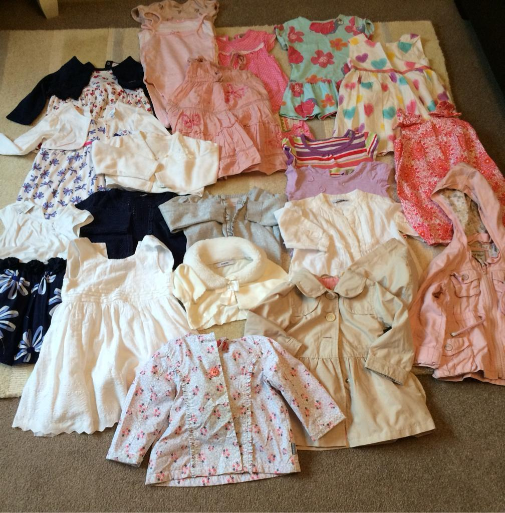 Bundle of baby clothes 12-18 months, including 5 party dresses and matching cardigans