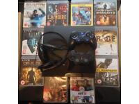 SONY PLAYSTATION SLIM PS3 CONSOLE 2 PADS 10 GAMES BUNDLE UNCHARTED LA NOIRE FIFA NOT GTA 5 PS4 XBOX