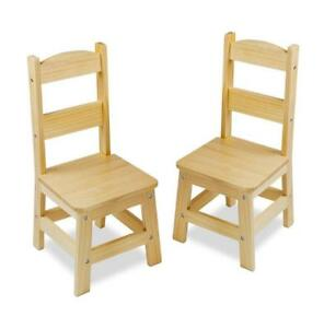 New Melissa & Doug Solid Wood Chairs, Set of 2 Light Finish Furniture for Playroom, PICKUP ONLY - DI6