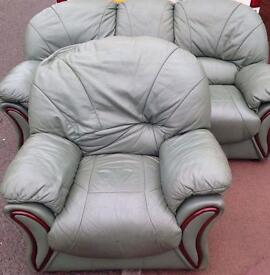Leather 3 seater sofa and chair free delivery