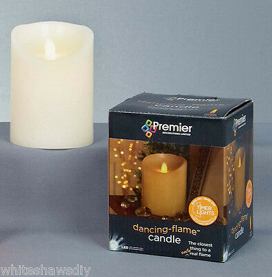 Premier Cream 13cm Battery Operated LED Dancing Flame Flickering Safety Candle](Halloween Fire Safety)