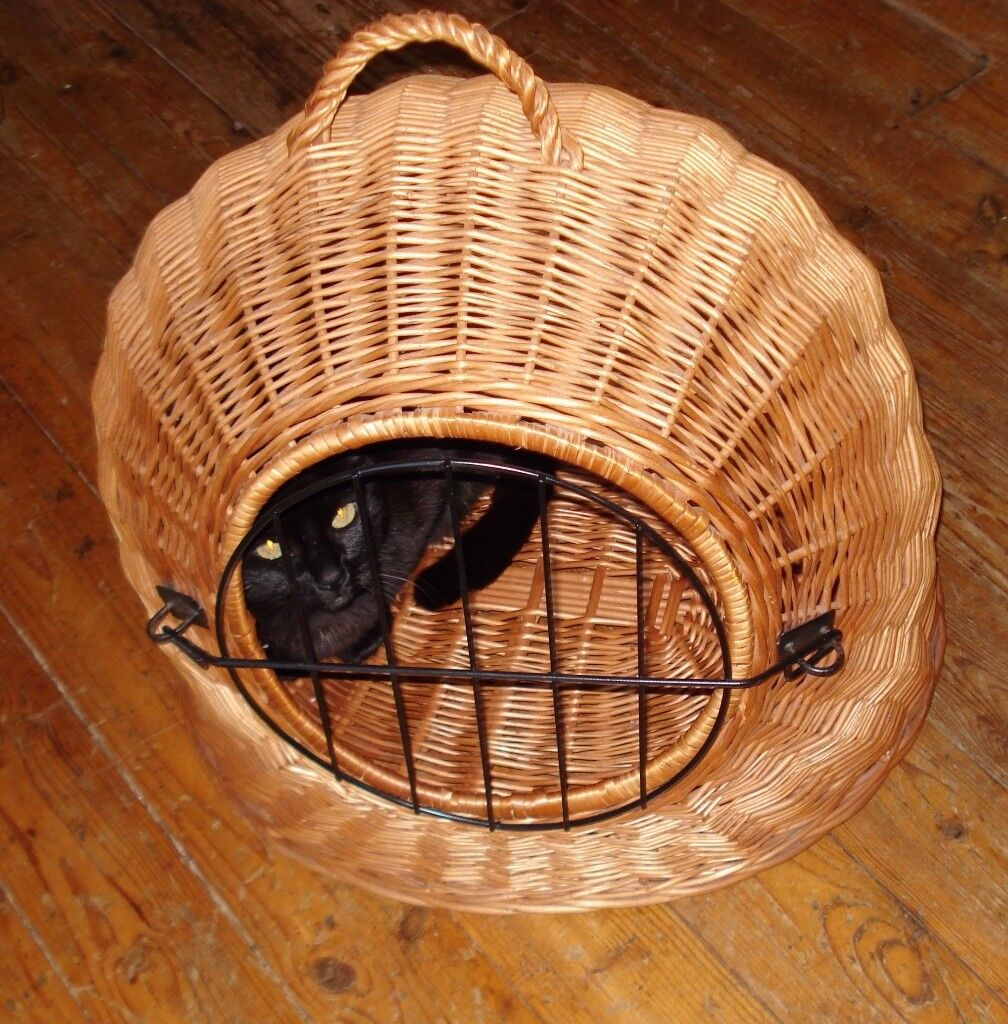 Cat Basket, Wicker, Carrier Cave, Den removable grill