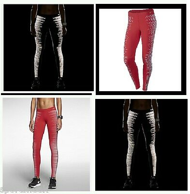 NIKE FLASH WOMEN'S RUNNING TIGHTS RED (REFLECTIVE)  L  618292 660 RETAIL: $150. - Cheap Red Tights