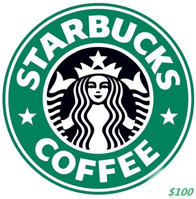 Total $100 Starbucks Gift Card - Fast Deliver Starbucks