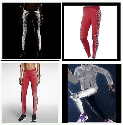 NIKE FLASH WOMEN'S RUNNING TIGHTS (REFLECTIVE) Size - X Large-Color-ACTION RED - Cheap Red Tights