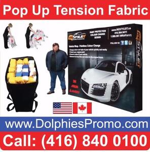 Trade Show 8 Pop Up Tension Fabric Display Booth + CUSTOM Dye-Sublimation Graphics by www.DolphiesPromo.com