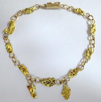 22K Gold Nuggets Alaskan Custom 14K Links Bracelet 8.299 Grams 7.25