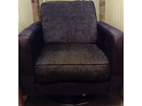 Swivel Chair in faux brown leather and velvet cushions
