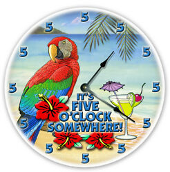12 PARROT TROPICAL MARTINI RETIRED CLOCK - Large 12 inch Wall Clock - FIVEO 12