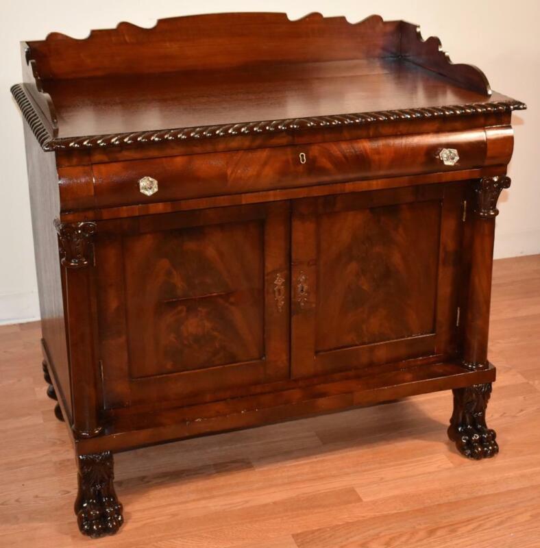 1860s Antique American Empire Mahogany Server / buffet lion Paw feet