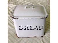 1950s Retro Mid century Enamel Bread Bin - White with black rim 34cmx22cmx30cm