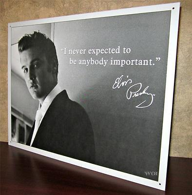 Elvis Presley in Suit Black & White Photo with Quote Metal Hanging Picture Sign - Elvis Presley White Suit