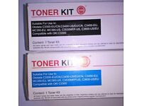 OKI C3300 C3400 Printer Toner Cartridges - Black & Blue