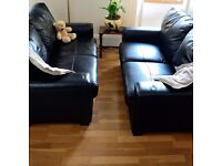 Two Leather 2 Seater Sofas