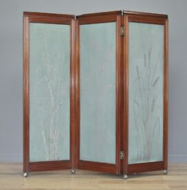Attractive Large Antique Mahogany 3-fold Room Divider Screen, Floral Painted