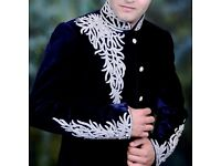 Mens Blue Velvet INDIAN SHERWANI **MINT CONDITION**