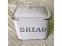 1950s Retro Mid century Enamel Bread Bin - White with black rim 34cmx22cmx30cm