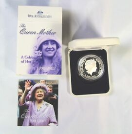 The Queen Mother Australian Mint $5 Silver Coin 1 Troy Ounce in presentation box