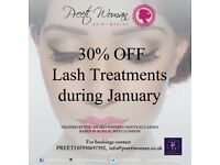 30% off All LASH TREATMENTS - Lash Extensions, LVL during January