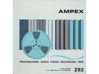 NOS & Sealed Ampex 292 7in 1/4in Wide Reel To Reel Blank Recording Tape