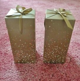 2 Gold Star Patterned Mens / Womens / Unisex Perfume Fragrance Gift Boxes