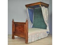 Attractive Large Antique Victorian Half Tester Mahogany Upholstered Double Bed