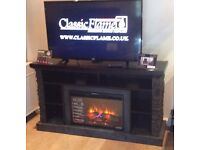 Premium TV Cabinet with Electric Fire and Powerful Infrared Heater, Half Price - New, Free Delivery
