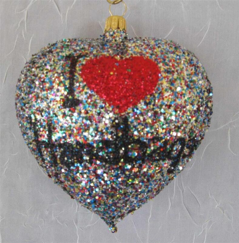 I LOVE HANDBAGS HEART  - BLOWN GLASS CHRISTMAS ORNAMENT - NORDSTROM NEW POLAND