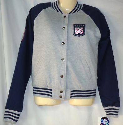 Junior's Baseball Jacket Size Medium Gray Cotton Blend NWT