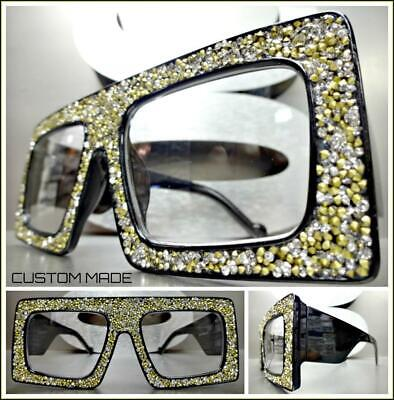 OVERSIZED Bling RETRO Style Clear Lens EYE GLASSES Thick Frame Bling Custom (Custom Eye Frames)