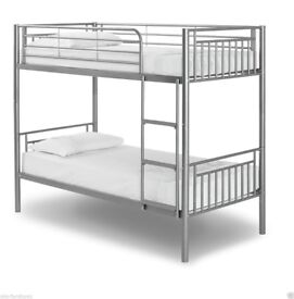BEST CONVERTIBLE BRAND NEW SINGLE METAL BUNK BED FRAME IN WHITE & SILVER COLOUR W OPTIONAL MATTRESS
