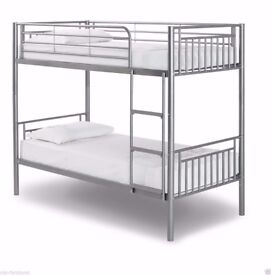 💥💖💥🔥Silver Or White Finish💥💖🔥 New Single Metal Bunk Bed with 2 x 9 inch Deep Quilt Mattresses