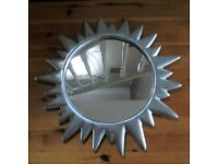 NEXT - Brushed Silver Sun Wall Mirror.