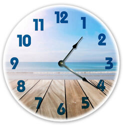 12 DECK ON THE BEACH CLOCK - Large 12 inch Wall Clock - Printed Photo - 2002