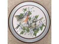 Purbeck Pottery plate - Chaffinch with May Blossom
