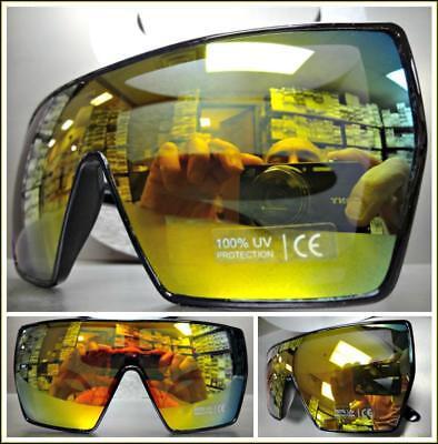 Oversize Retro Shield Style Party Rave SUN GLASSES Black Frame Gold Mirror Lens (Black Frame Gold Mirror Lens)