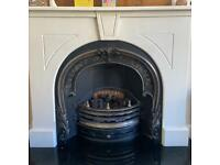 Cast Iron Gas Fire with Granite hearth and white surround