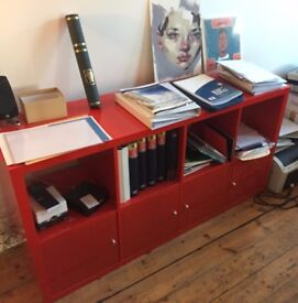 Ikea Kallax Glossy red storage unit with hinge doors still available nov 5