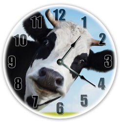 12 FUNNY COW STARING CLOCK - Large 12 inch Wall Clock - Printed Photo - 5120