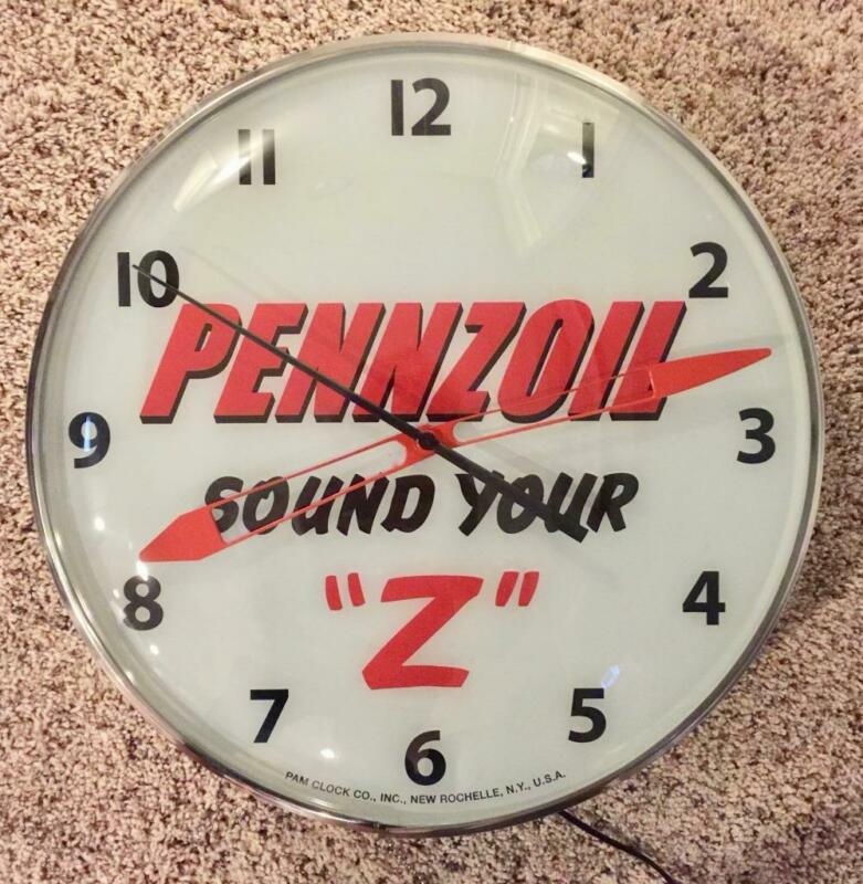 Pam Lighted Advertising Pennzoil Clock