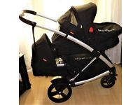 phil and teds promenade double ,pram , black with 2 foot covers and 2 raincovers