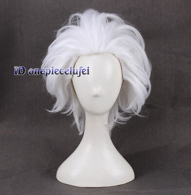 Ursula Wig Rick Morty Rick Sanchez Cosplay Wigs Short Layered White + a wig cap](Ursula Wigs)