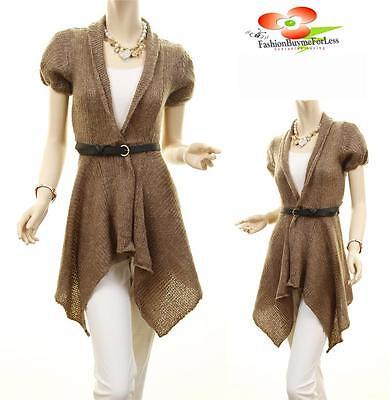 Trim Knit Cardigan (Brown Wool Crochet Asymmetric Trim Knit Belted Sweater Cardigan Coat Jacket Top)