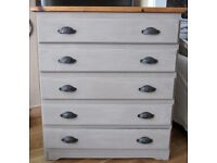 Large Shabby Chic Look Solid Pine Chest of Drawers.