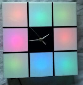 Light up colour change clock