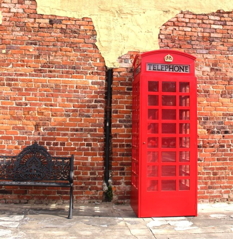 Red British Wood Telephone Phone Box Booth English Replica Like Cast Iron Style